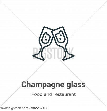 Champagne glass icon isolated on white background from food and restaurant collection. Champagne gla