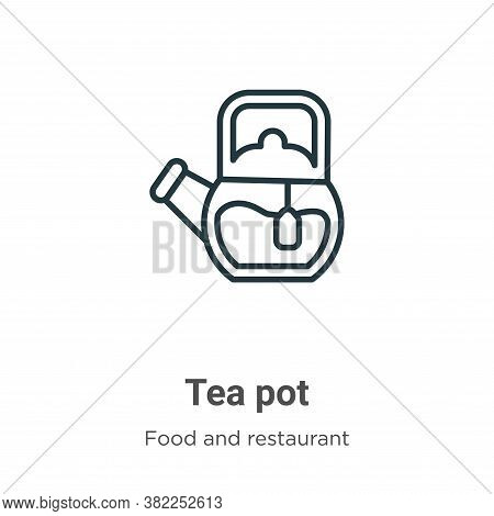 Tea pot icon isolated on white background from food and restaurant collection. Tea pot icon trendy a