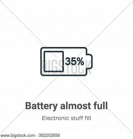 Battery almost full icon isolated on white background from electronic stuff fill collection. Battery