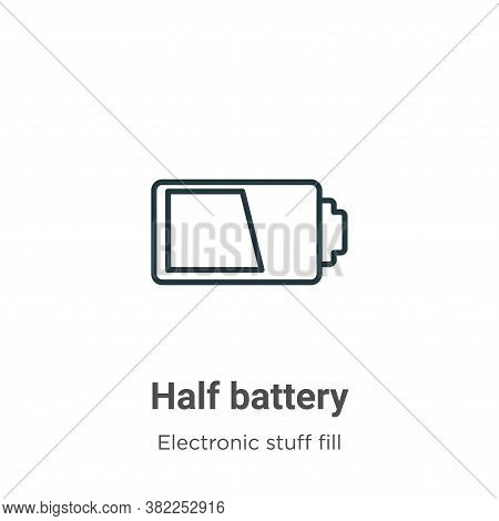Half battery icon isolated on white background from electronic stuff fill collection. Half battery i