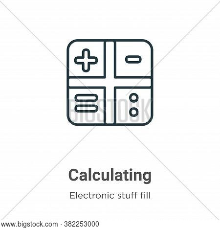 Calculating symbol icon isolated on white background from electronic stuff fill collection. Calculat