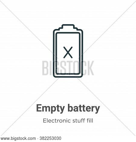 Empty battery icon isolated on white background from electronic stuff fill collection. Empty battery