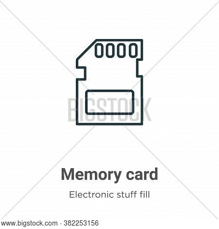 Memory card icon isolated on white background from electronic stuff fill collection. Memory card ico