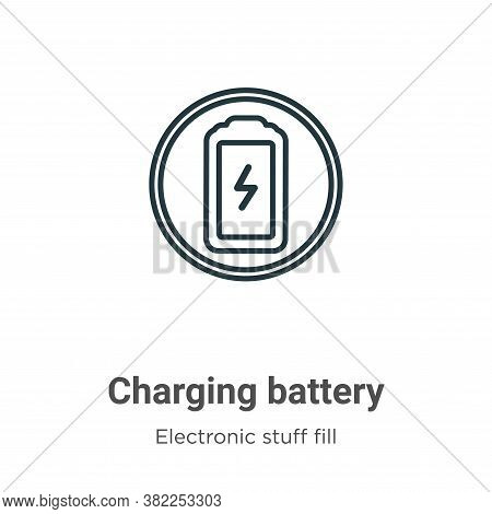 Charging battery icon isolated on white background from electronic stuff fill collection. Charging b