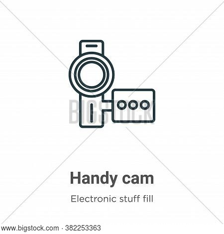 Handy cam icon isolated on white background from electronic stuff fill collection. Handy cam icon tr