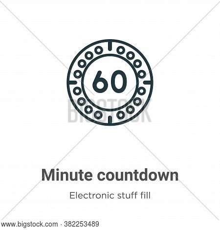 Minute countdown icon isolated on white background from electronic stuff fill collection. Minute cou