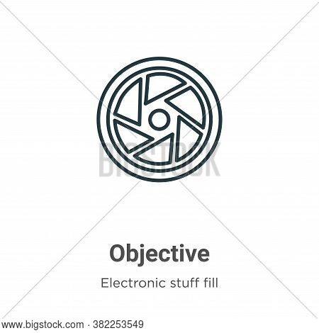 Objective icon isolated on white background from electronic stuff fill collection. Objective icon tr
