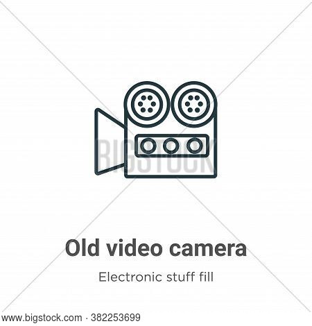 Old video camera icon isolated on white background from electronic stuff fill collection. Old video