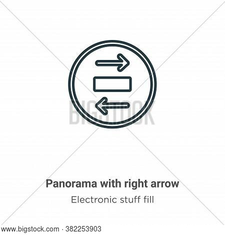 Panorama with right arrow icon isolated on white background from electronic stuff fill collection. P