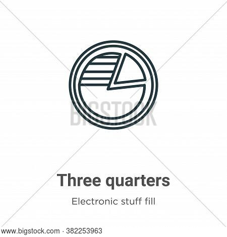 Three quarters icon isolated on white background from electronic stuff fill collection. Three quarte