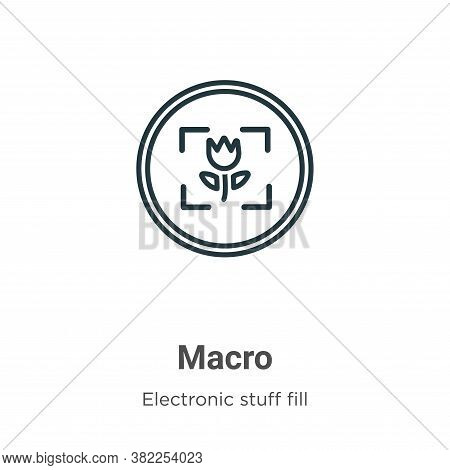 Macro icon isolated on white background from electronic stuff fill collection. Macro icon trendy and
