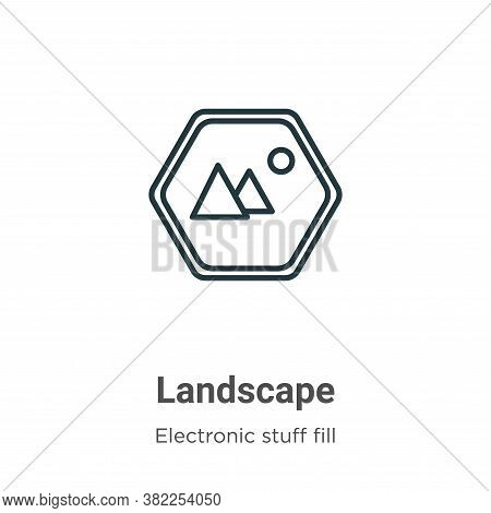Landscape icon isolated on white background from electronic stuff fill collection. Landscape icon tr