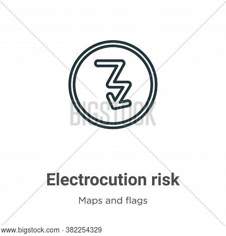 Electrocution risk icon isolated on white background from maps and flags collection. Electrocution r
