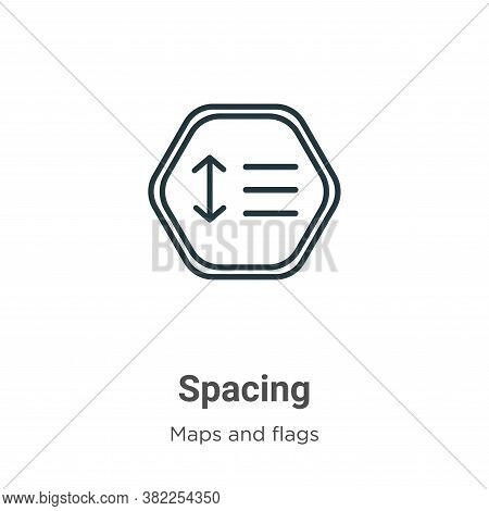 Spacing icon isolated on white background from maps and flags collection. Spacing icon trendy and mo