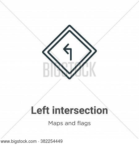 Left intersection icon isolated on white background from maps and flags collection. Left intersectio