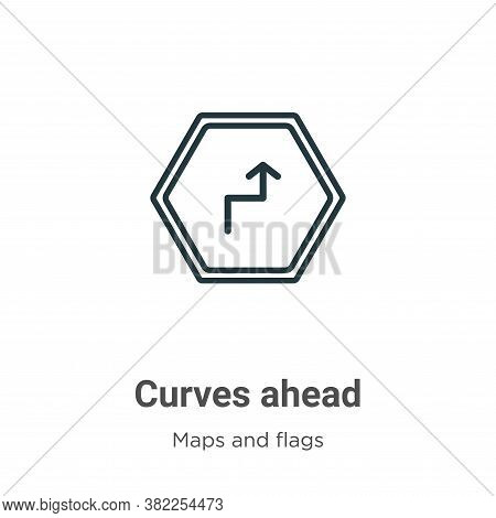 Curves ahead icon isolated on white background from maps and flags collection. Curves ahead icon tre