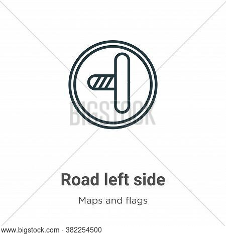 Road left side icon isolated on white background from maps and flags collection. Road left side icon