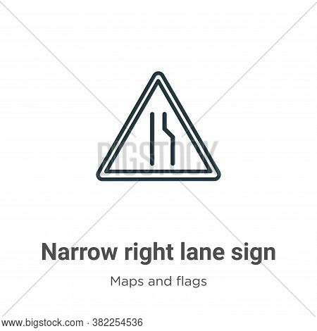 Narrow right lane sign icon isolated on white background from maps and flags collection. Narrow righ
