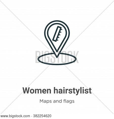 Women hairstylist icon isolated on white background from maps and flags collection. Women hairstylis
