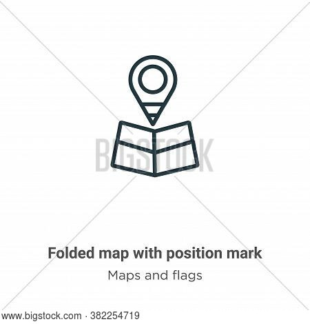 Folded map with position mark icon isolated on white background from maps and flags collection. Fold