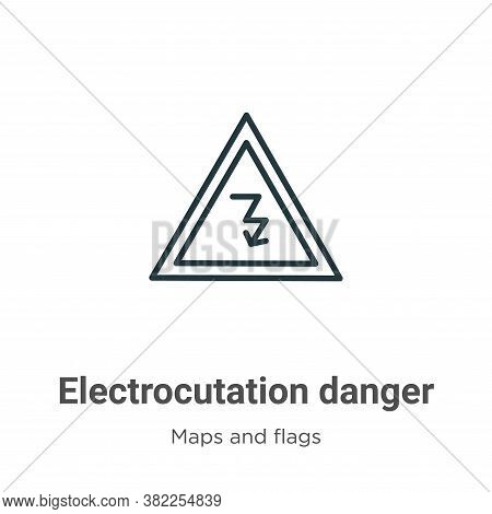 Electrocutation danger icon isolated on white background from maps and flags collection. Electrocuta