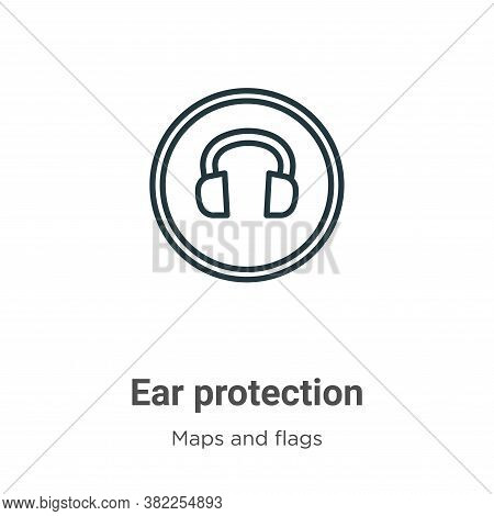 Ear protection icon isolated on white background from maps and flags collection. Ear protection icon