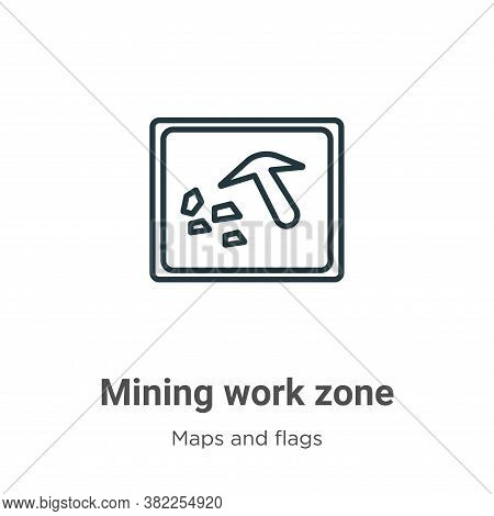 Mining work zone icon isolated on white background from maps and flags collection. Mining work zone
