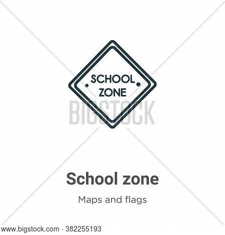 School zone icon isolated on white background from maps and flags collection. School zone icon trend