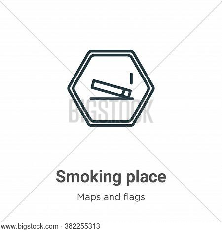 Smoking place icon isolated on white background from maps and flags collection. Smoking place icon t