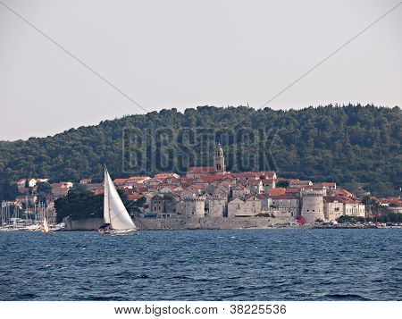 Korcula - July 12: Tourist And Locals Find Refreshment In The Adriatic Ocean As Croatia Suffers One