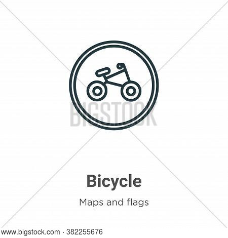 Bicycle symbol icon isolated on white background from maps and flags collection. Bicycle symbol icon