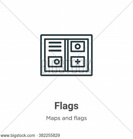 Flags icon isolated on white background from maps and flags collection. Flags icon trendy and modern