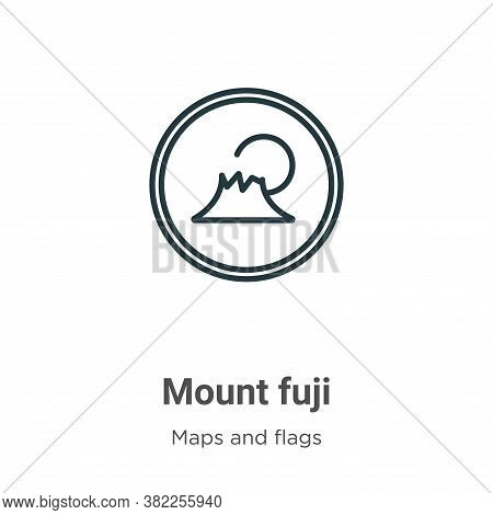 Mount fuji icon isolated on white background from maps and flags collection. Mount fuji icon trendy