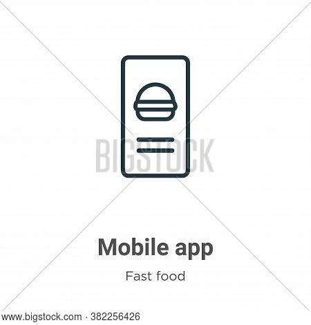 Mobile app icon isolated on white background from fast food collection. Mobile app icon trendy and m