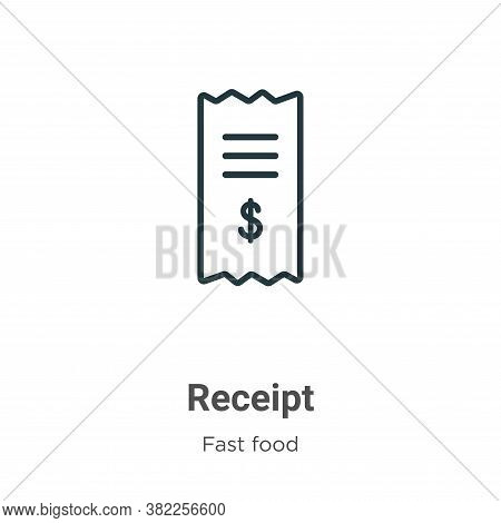 Receipt icon isolated on white background from fast food collection. Receipt icon trendy and modern