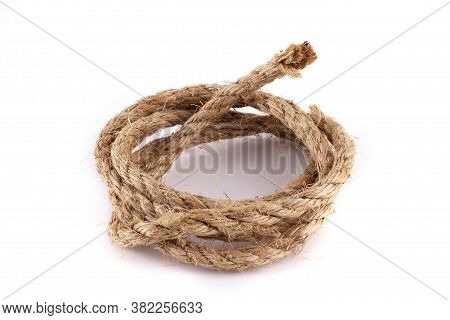 Coiled Sisal Rope On A White Isolated Background