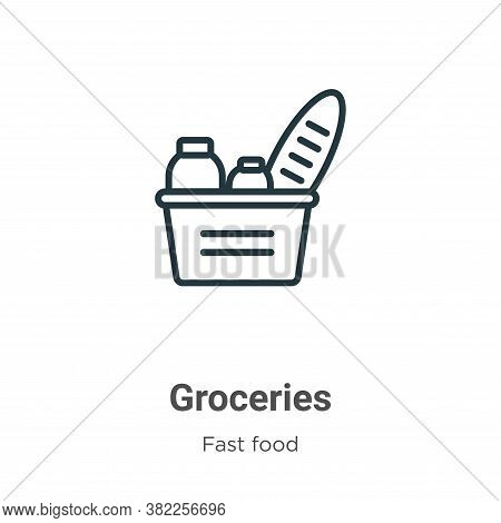 Groceries icon isolated on white background from fast food collection. Groceries icon trendy and mod