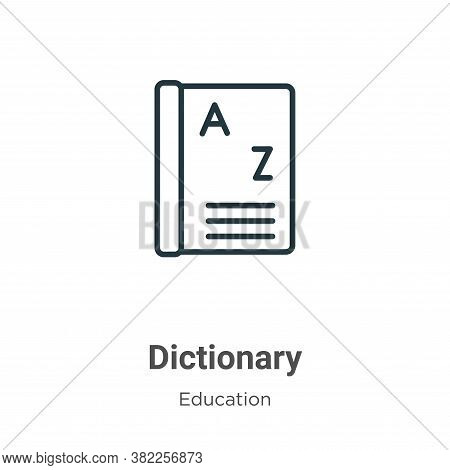 Dictionary icon isolated on white background from education collection. Dictionary icon trendy and m