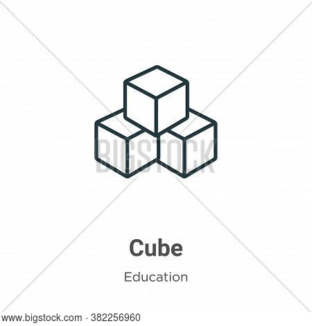 Cube icon isolated on white background from education collection. Cube icon trendy and modern Cube s