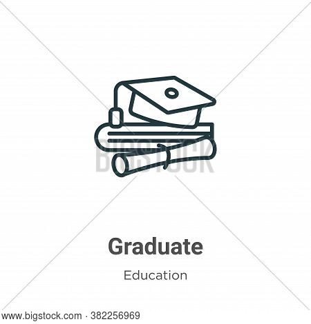 Graduate icon isolated on white background from education collection. Graduate icon trendy and moder