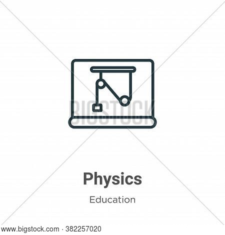 Physics icon isolated on white background from education collection. Physics icon trendy and modern