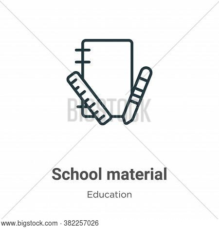 School material icon isolated on white background from education collection. School material icon tr
