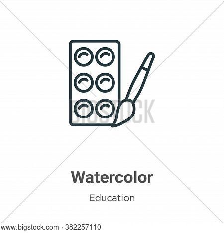 Watercolor icon isolated on white background from education collection. Watercolor icon trendy and m