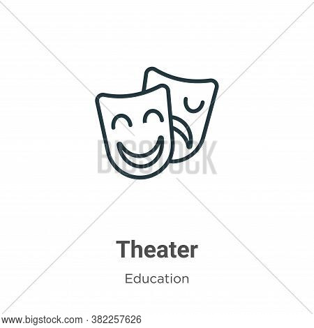 Theater icon isolated on white background from graduation and education collection. Theater icon tre