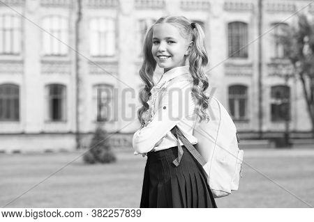 Back In September. Happy Child Go To School. Little Girl Wear School Uniform. September 1. Back To S