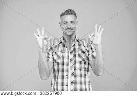 Life Is Ok When You Follow Your Style Rules. Happy Man Show Okey Signs Blue Background. Handsome Guy
