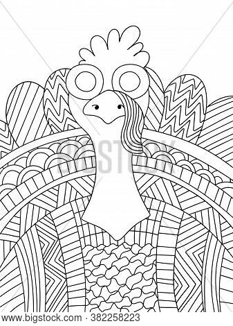 Funny Ornamental Turkey Bird Stock Vector Illustration. Happy Thanksgiving Day Coloring Page For Kid