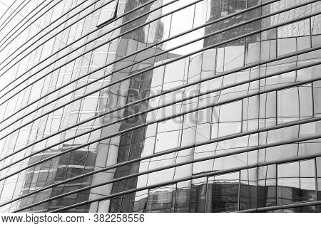 Mirror Surface. Skyscraper Modern City Architecture. Modern Building Architecture. Sky Reflects Mirr