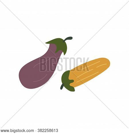 Eggplant And Zucchini. Purple And Yellow Vegetables. Colorful Vector Illustration In Cartoon Style I
