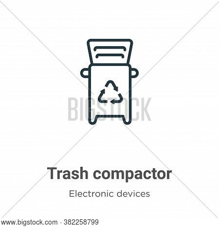 Trash compactor icon isolated on white background from electronic devices collection. Trash compacto